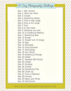 30 Day Photo Challenge- this would be really fun to see what the kids would do with this challenge.
