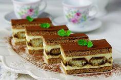 "Medové ""tiramisu"" rezy - My site Czech Recipes, Ethnic Recipes, Sweet Recipes, Cake Recipes, Tiramisu, Waffles, Bakery, Food And Drink, Cooking Recipes"