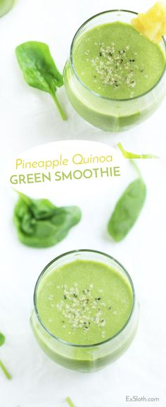 This pineapple quinoa green smoothie is creamy, refreshing, filling and packs a protein punch. Perfect for breakfast. via @ExSloth | ExSloth.com