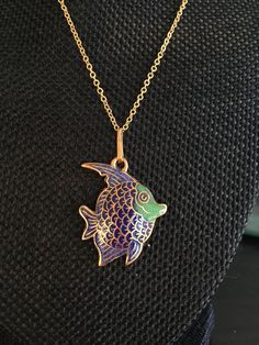 Cloisonné Fish Pendant, cloisonné fish, vintage cloisonné pendant, cloisonne pendants, vintage cloisonne jewelry, fish cloisonné, N217 by DuckCedar on Etsy