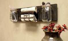 Mason Jar Decor , Pallet Wood , Country Decor , Rustic Decor , Cottage, Wall Hanging , Wall Sconce , Bathroom storage, Counter Top Organizer