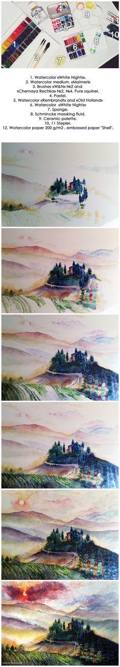 Watercolor italy landscape by sashasinichka on DeviantArt