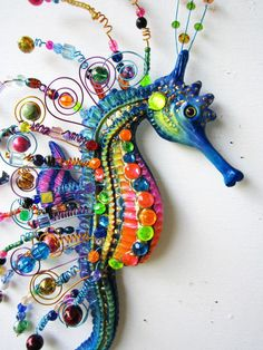 Seahorse art wall sculpture from artistJP on Etsy. Shop more products from artistJP on Etsy on Wanelo. Polymer Clay Kunst, Polymer Clay Sculptures, Fimo Clay, Polymer Clay Projects, Polymer Clay Creations, Sculpture Clay, Polymer Clay Jewelry, Polymer Clay Fish, Ceramic Sculptures