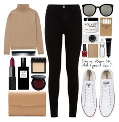 """""""Come on skinny love, what happened here?"""" by laurasuursepp ❤ liked on Polyvore featuring Uniqlo, 7 For All Mankind, Converse, Karen Walker, NARS Cosmetics, Robert Piguet, GHD, Bobbi Brown Cosmetics, Muji and Jayson Home"""