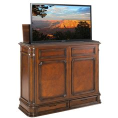 Crystal Pointe Brown TV Lift Cabinet From TVLiftCabinet.com