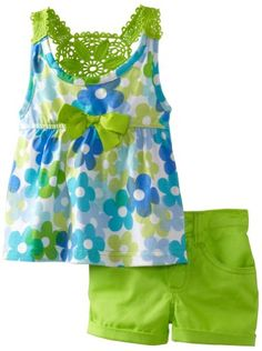 Young Hearts Baby-Girls Infant 2 Pieced Green Infant Girls Knit Pullover And Woven Short Set, Green, 12 Months