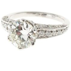 Preowned Transitional Cut Diamond Platinum Engagement Ring ($17,075) ❤ liked on Polyvore featuring jewelry, rings, multiple, diamond rings, round engagement rings, round diamond ring, platinum jewellery and pre owned engagement rings