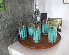 Vintage drinken glazen - Water bril - bekers - Libbey - federale glazen, Dominion - jaren 1960 - Barware - atomaire - taling - Turquoise