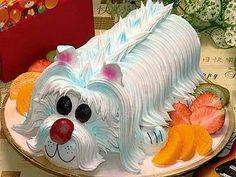 Dog cake pic only Fancy Cakes, Cute Cakes, Beautiful Cakes, Amazing Cakes, Pastel Rectangular, Puppy Dog Cakes, Doggie Cake, Puppy Food, Animal Cakes