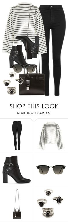 """Style #11590"" by vany-alvarado ❤ liked on Polyvore featuring Topshop, Yves Saint Laurent, Ray-Ban and Forever 21"