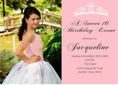 Birthday Party Invitation Templates New Sweet 16 or Quinceanera Invitation Printable Double by Sweet 15 Invitations, Picture Invitations, Quince Invitations, Shower Invitations, Invites, Printable Invitation Templates, Printable Birthday Invitations, Personalized Invitations, Free Printable