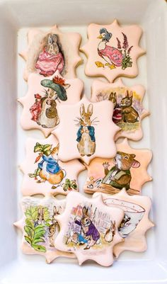 Amazing cookies for parties - Beatrix Potter hand painted cookies by Sugar Rush Custom Cookies Fancy Cookies, Iced Cookies, Cute Cookies, Easter Cookies, Royal Icing Cookies, Cupcake Cookies, Cupcakes, Sugar Cookies, Beatrix Potter Cake