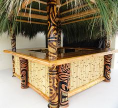 This makes a great outdoor design for a large tiki bar. The bamboo, carving and thatch capture a great spirit. Tiki Bar Decor, Bar Cart Decor, Tiki Bar Stools, Backyard Bar, Patio Bar, Pool Bar, Tiki Bar For Sale, Outdoor Tiki Bar, Home Bar Areas