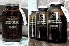 Stumptown Coffee - apothecary style bottles to showcase finely roasted beans, promoting craftsmanship and quality.