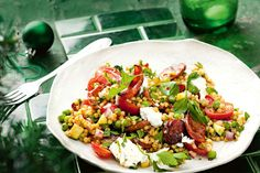 Pearl couscous is delicious in this salad but you could substitute for normal couscous or another grain, like brown rice or quinoa. Couscous Rice, Pearl Couscous Salad, Israeli Couscous Salad, Christmas Salad Recipes, Xmas Recipes, Yummy Recipes, Vegetarian Recipes, Healthy Recipes, Pearl Couscous Recipes