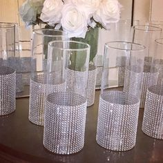 12 tall wedding Centerpieces, cylinder shaped vases with a Wide rhinestone look mesh ribbon vase. Wedding decor, shower decor, event decor 12 sparkling bling and glam tall wedding Centerpieces Anniversary Centerpieces, Tall Wedding Centerpieces, Bridal Shower Centerpieces, Vase Centerpieces, Diy Wedding Decorations, Bling Centerpiece, Vases, 60 Wedding Anniversary, Bling Wedding