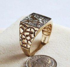 Mens Vintage 10k Gold Eagle Ring, Diamonds with Gold Nugget Design THAILAND