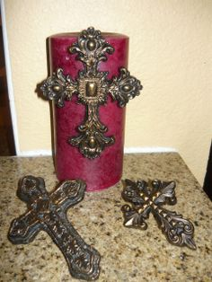 SET of 3 Cross Candle Accent Pins / Old World Medieval Tuscan Decor Crosses for Candles Tuscan Design, Tuscan Style, Scented Candles, Pillar Candles, Candle Wax, Red Candles, Chai, World Decor, Cross Art