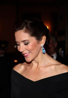 Crown Princess Mary with a fantastic set of aquamarine earrings.