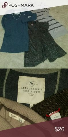 Medium Sweater Bundle 2 long sweaters/dresses &  1 Lightweight Sweater Super cute w/jeans or leggings.  Old Navy - Med   Abercrombie and Fitch - *Large Unionbay Cloak Style Cover-up - Med * fits like Medium  Colors are best in 2nd pic. Selling together as a bundle only! Will NOT separate! Abercrombie & Fitch Sweaters