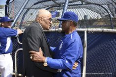Don Newcombe and Manny Mota, LAD home opener, April 12, 2016