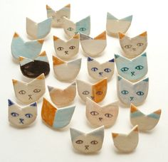 hand painted ceramic brooches