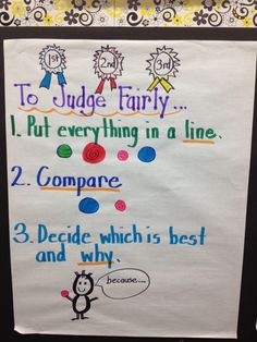 Great anchor chart to start first grade opinion writing