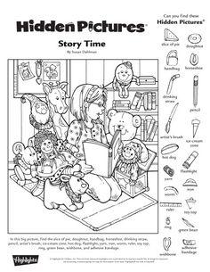Hidden Picture Games, Hidden Picture Puzzles, Hidden Object Puzzles, Hidden Objects, English Worksheets For Kids, Preschool Worksheets, Library Activities, Fun Activities, Hidden Pictures Printables
