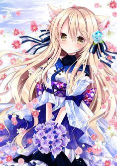 Beautiful neko girl with flowers Anime Neko, Kawaii Anime Girl, Manga Kawaii, Loli Kawaii, Chica Anime Manga, Fan Art Anime, Anime Art Girl, Anime Girls, Beautiful Anime Girl