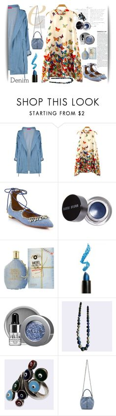 """Denim accessories"" by pepitarita ❤ liked on Polyvore featuring Aquazzura, Bobbi Brown Cosmetics, Diesel, Lime Crime, Stila, Anello, STELLA McCARTNEY and denim"