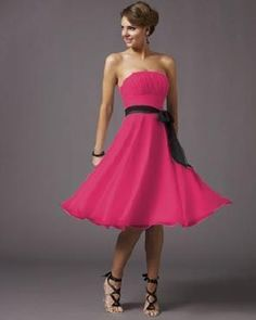 I love this dress for a bridesmaid dress but I would pick a different color for the ribbon that ties but I love how it flows and its pink :)