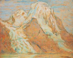 A.Y. Jackson - Evening Mount Robson from Berg Lake 8.5 x 10.5 Oil on panel (1914)