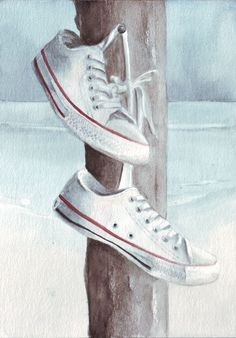 Original watercolor art Converse at the Beach painting by HelgaMcL, $24.00