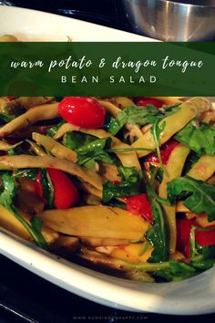 Warm potato and dragon tongue bean salad is great for picnics and cookouts It's top notch in the winter, too, since it's served warm! -Running on Happy Bean Recipes, Potato Recipes, Veggie Recipes, Salad Recipes, Dinner Recipes, Healthy Recipes, Healthy Sides, Healthy Side Dishes, Dragon Tongue Beans
