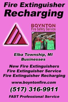Fire Extinguisher Recharging Elba Township, MI (517)  316-9911) Call the Experts at Boynton Fire Safety Service.. We are the complete source for Fire Extinguisher Service for Local Michigan Businesses We would love to hear from you.. Call us Today!