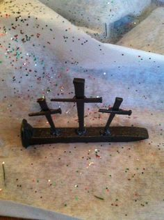 Items similar to Hand made Crosses from Rail road spikes. About 6 inches long and 3 inches high, hand crafted by a local artist Bryan Mauck on Etsy Welding Crafts, Welding Art Projects, Metal Projects, Metal Crafts, Horseshoe Projects, Horseshoe Crafts, Horseshoe Art, Horseshoe Ideas, Railroad Spikes Crafts