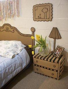 Ikea too expensive? This cardboard bedroom set is cute, frugal and DIY!