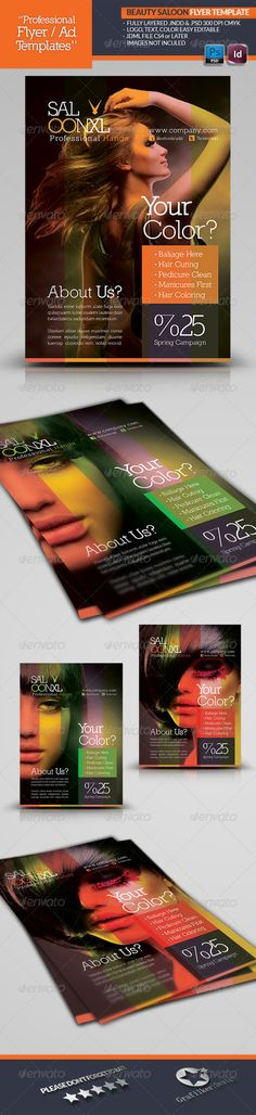 Beauty Saloon Flyer Template #GraphicRiver Beauty Saloon Flyer Template Beauty Salon Business Flyer Fully layered INDD Fully layered PSD 300 Dpi, CMYK IDML format open Indesign CS4 or later Completely editable, print ready Text/Font or Color can be altered as needed All Image are in vector format, so can customise easily Photos are not included in the file Font Link: Nilland Font: .dafont /nilland.font Help.txt file Created: 2May13 GraphicsFilesIncluded: PhotoshopPSD #InDesignINDD Layered…