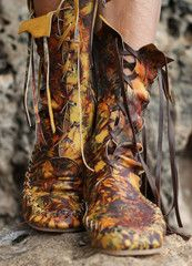 Brown and Yellow Galaxy Leather Ankle Boots