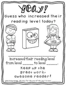 Free:) It's time to re-assess reading levels in my classroom, and I'm SO proud of my kids when they increase their reading levels. I HAD to make them an award. There are two versions - one with a spot where you can jot down the end of year reading level goal...and one version without it.Enjoy this freebie:)Be sure to look at my Back to School Growing Bundle. Reading Goals, Guided Reading Levels, Reading Lessons, Reading Activities, Reading Skills, Reading Strategies, Reading Fluency, Kindergarten Literacy, Reading Centers