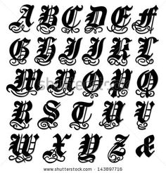 Complete uppercase Gothic alphabet in a bold black doodle with ornamental swirls and flourishes, vector illustration isolated on white - stock vector Mais