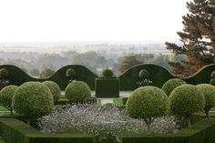 La Ballue, son château et ses jardins - I love the contrast of the round green trees & the lacy & airy white flowers.
