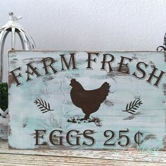 Farm Fresh Eggs Wood Sign Distressed Farm by NewLeafWoodDesigns Pallet Art, Pallet Signs, Rustic Signs, Wooden Signs, Country Signs, Country Farm, Chicken Signs, Farm Signs, Do It Yourself Home