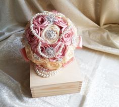Satin ribbon flowers wedding BOUQUET dusky pink ivory creme pearls, sparkling brooches, satin Handle, cotton lace, vintage style, custom - pinned by pin4etsy.com