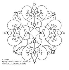 A Scrolly Medallion hand embroidery pattern - free PDF printable