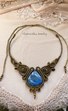 Goddess macrame necklace with lapis lazuli by AbstractikaCrafts, £38.00