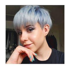baby blue colour, Pixie Hair, short hair, Baby Blue Hair, Short Blue Hair, Pixie Hairstyles, Cute Hairstyles, Lvl Lashes, Baby Blue Colour, Hair And Beauty Salon, Mullets, Short Pixie