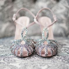 Ombre is in! Check out this gorgeous purple ombre wedding inspiration - sparkly shoes included! Photo via Inspired by This