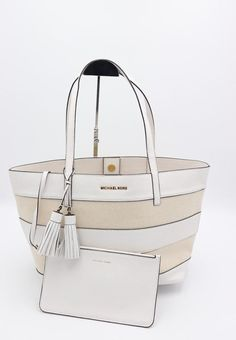 NWT MICHAEL Michael Kors White Striped Canvas Leather Large Shoulder Bag  Tote  MichaelKors  TotesShoppers 9da2fde7f1