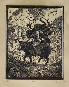 Lilith  Woodcut on Paper  Thomas Shahan by TShahan on Etsy, $48.00